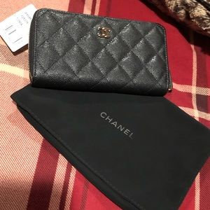 Chanel cavier zip wallet with gold hardware
